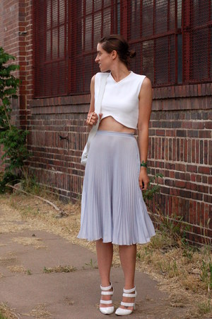 white crop top Zara shirt - violet midi pleated asos skirt