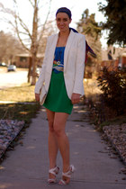 ivory Charles Jourdan heels - white Forever 21 jacket - ivory River Island bag