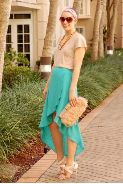 Forever 21 shirt - feather clutch asos bag - asymmetric hem Forever 21 skirt