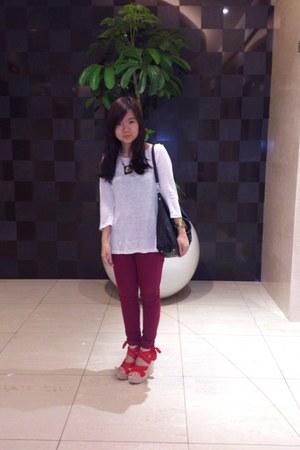 magenta Topshop jeans - black Mango bag - white Zara blouse