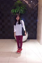 magenta Topshop jeans - black Mango bag - white Zara blouse