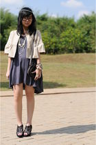 beige cardigan - gray Tosavica dress - black Picnic - brown Primark