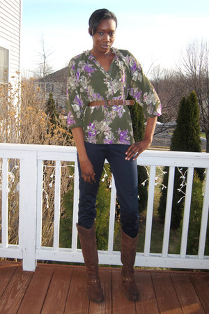 brown born boots - floral print kohls blouse - navy J Crew pants - brown thrifte