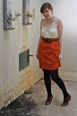 orange vintage skirt - brown We Who See UO shoes - black tights