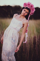white flowered Fabled and True dress - pink headpieces Blossom accessories