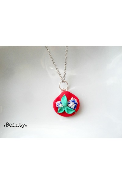 red floral handmade necklace