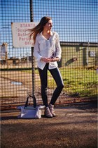 tan Topshop shoes - cream silk jack wills shirt - silver M&S bag