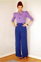 blue Oasis pants - violet FF sweater - navy gingham shirt