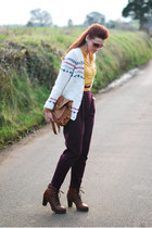 crimson asos pants - dark brown Bertie boots - brown Betty Jackson bag