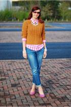burnt orange asos sweater - light blue La Redoute jeans - bubble gum M&S shirt