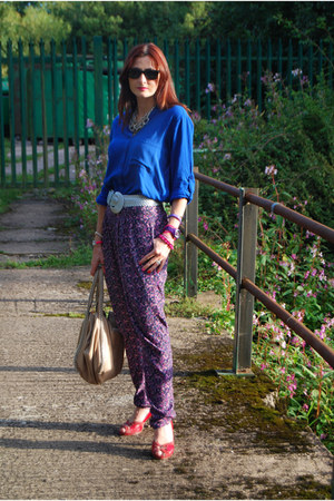 floral asos pants - blue Topshop shirt - nude leather karen millen bag