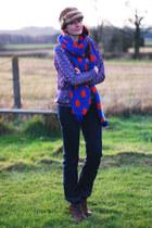 blue asos scarf - dark brown Bertie boots - navy Wrangler jeans