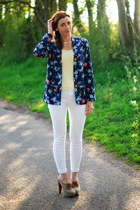 blue Debenhams blazer - white asos jeans - cream FF t-shirt