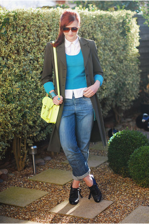 yellow neon the satchel co bag - olive green karen millen coat