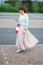 Light-blue-ff-at-tesco-sweater-red-next-bag-beige-new-look-skirt