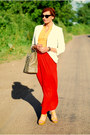 Ivory-blazer-dark-khaki-bag-red-skirt-gold-top-mustard-heels