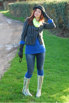 charcoal gray Very jacket - lime green wellington boots - blue Gap jeans