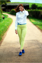white Reiss shirt - blue Esprit shoes - lime green Reiss jeans