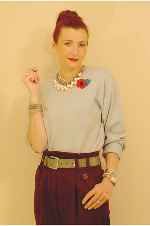 red poppy self-made accessories - light blue husbands sweater