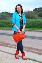 red Fly London boots - navy Gap jeans - sky blue La Redoute jacket