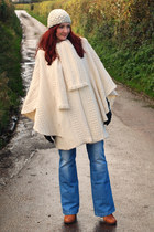 ivory thrifted vintage cape - bronze Duo boots - sky blue asos jeans