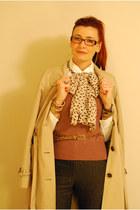 camel Ellen Tracy coat - white asos shirt - tan Oasis scarf