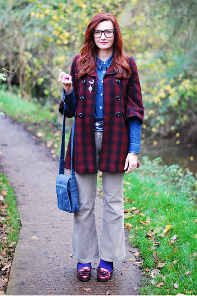 brick red check coat - blue denim Topshop shirt - blue denim Kangol bag