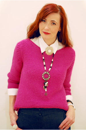 hot pink Zara sweater - white shirt - black Debenhams necklace