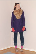 camel faux fur H&M scarf - deep purple new look coat - navy Wrangler jeans