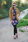 Navy-floral-vintage-from-ebay-dress-mustard-polkadot-asos-blazer