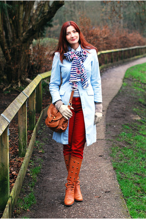light blue H&M coat - burnt orange Duo boots - ruby red Very jeans