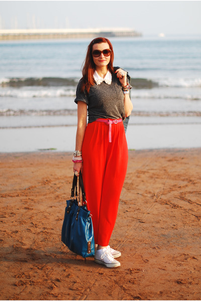 gray Topshop t-shirt - teal Nine West bag - red River Island skirt