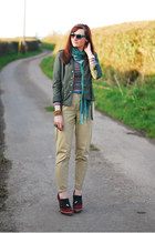 olive green H&M jacket - teal warehouse scarf