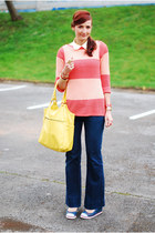 yellow Ebay bag - navy unknown brand jeans - salmon FF sweater