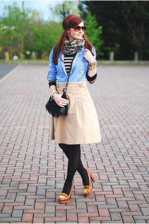 bronze Nine West heels - light blue M&S shirt - heather gray asos scarf