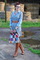 tan Duo boots - heather gray H&M dress - light blue checked Very shirt