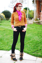 camel dune boots - black River Island jeans - mustard asos sweater