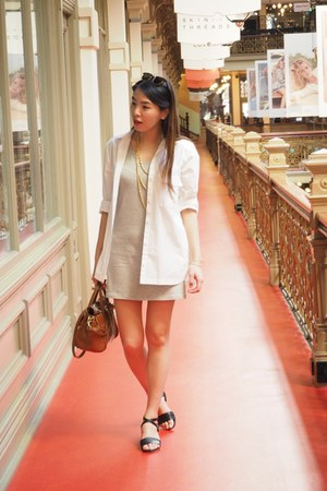white Zara shirt - silver Uniqlo dress - brown Mulberry bag