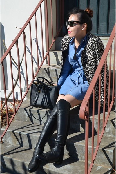 da716e80f46 black knee-high boots stuart weitzman boots - blue shirt dress Muji dress