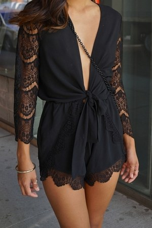 black chiffon SHOP NOTICE MAG romper