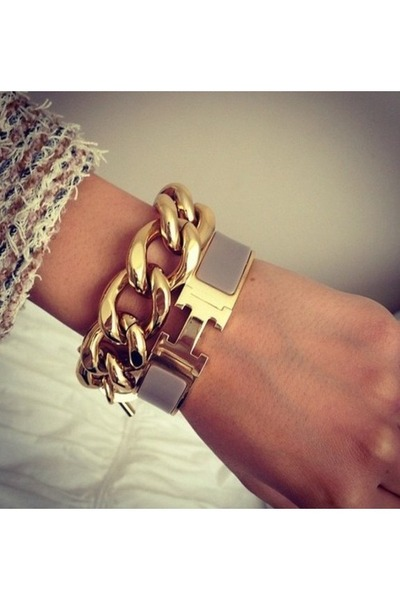 bracelet enamel Hermes bracelet - gold chain Comme ca bracelet