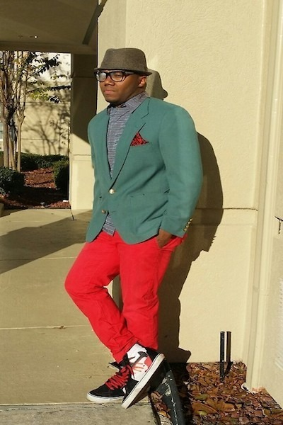 Men's Red Pants, Red Gap Pants, Brown Hats, Green Blazers, Light ...