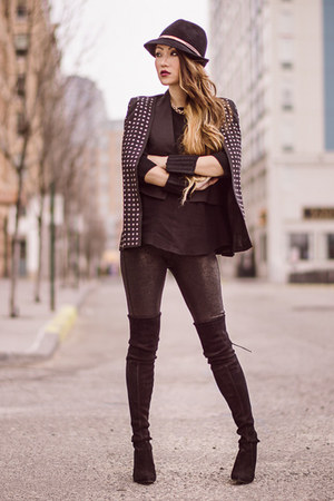 Eugenia Kim hat - Blaque Label jacket - Joes Jeans leggings