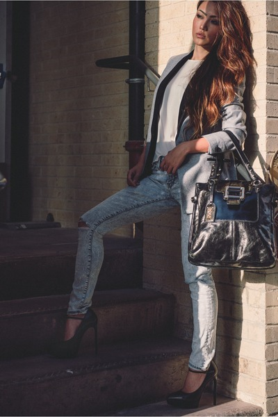 maison scotch jacket - Saint Laurent shoes - Frame Denim jeans - Twice bag