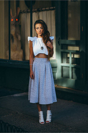 Joa skirt - sam edelman sandals - Viva Aviva top - vanessa mooney necklace