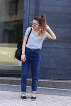 black H&M shoes - navy Topshop jeans - heather gray H&M shirt - black H&M bag