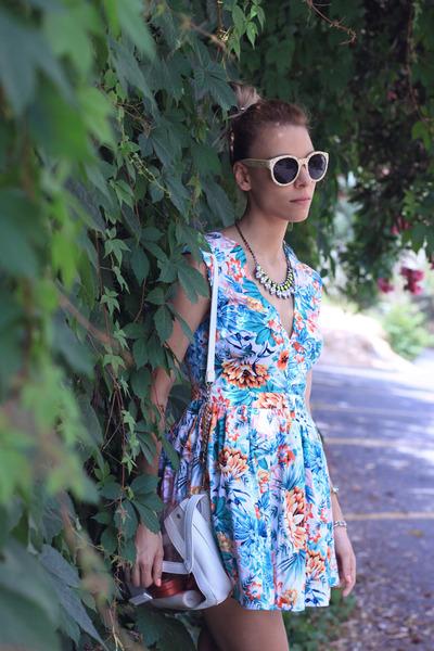 turquoise blue dress - white Stradivarius bag - neutral Centro Russia heels