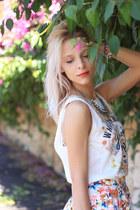 ivory pull&bear shirt - tawny Zara bag - neutral Zara flats - pull&bear skirt