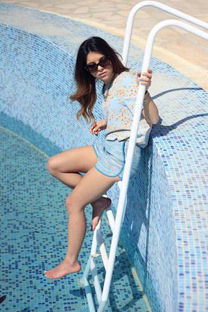 light blue Zara top - sky blue H&M shorts - Tom Ford sunglasses - Zara sandals