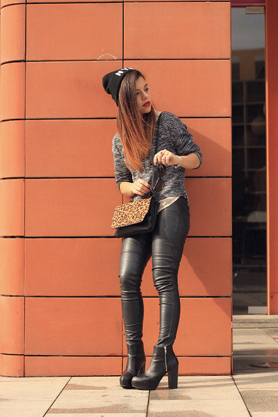 H&M hat - H&M sweater - Stradivarius bag - H&M blouse - H&M heels - H&M pants
